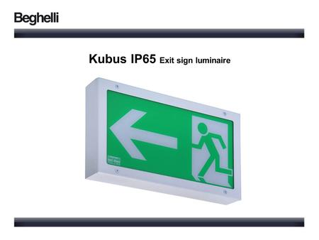 Kubus IP65 Exit sign luminaire. IP65 Higher degree of protection Indoor application shopping centers restaurants Outdoor application parking areas exhibitions.