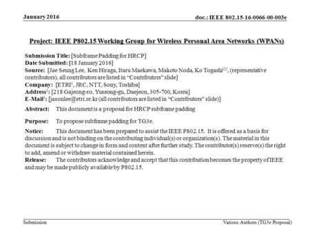 Doc.: IEEE 802.15-16-0066-00-003e Submission Project: IEEE P802.15 Working Group for Wireless Personal Area Networks (WPANs) Submission Title: [Subframe.