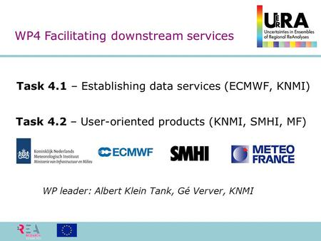 Task 4.1 – Establishing data services (ECMWF, KNMI) 1 WP4 Facilitating downstream services Task 4.2 – User-oriented products (KNMI, SMHI, MF) WP leader: