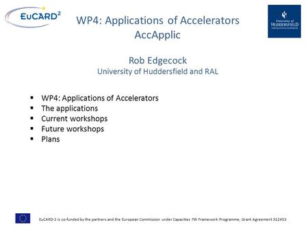 WP4: Applications of Accelerators AccApplic  WP4: Applications of Accelerators  The applications  Current workshops  Future workshops  Plans EuCARD-2.