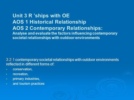 Unit 3 R 'ships with OE AOS 1 Historical Relationship AOS 2 Contemporary Relationships: Analyse and evaluate the factors influencing contemporary societal.