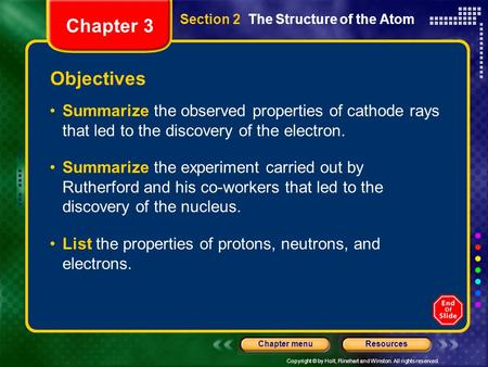Copyright © by Holt, Rinehart and Winston. All rights reserved. ResourcesChapter menu Section 2 The Structure of the Atom Objectives Summarize the observed.