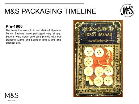 Pre-1900 The items that we sold in our Marks & Spencer Penny Bazaars were packaged very simply. Buttons were sewn onto card printed with our branding 'Marks.