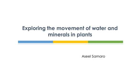 Aseel Samaro Exploring the movement of water and minerals in plants.