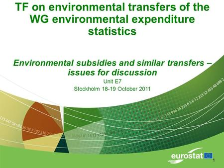 1 TF on environmental transfers of the WG environmental expenditure statistics Environmental subsidies and similar transfers – issues for discussion Unit.