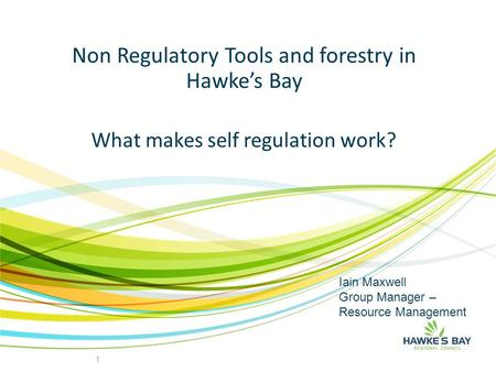 Non Regulatory Tools and forestry in Hawke's Bay 1 What makes self regulation work? Iain Maxwell Group Manager – Resource Management.