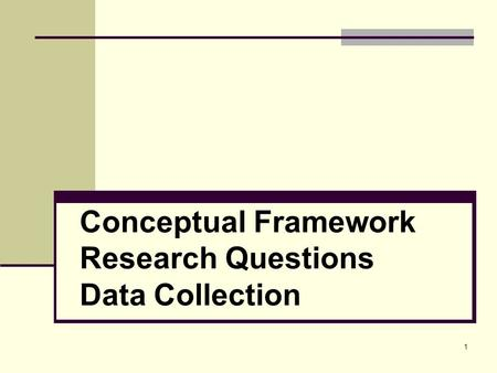 1 <strong>Conceptual</strong> Framework Research Questions Data Collection.
