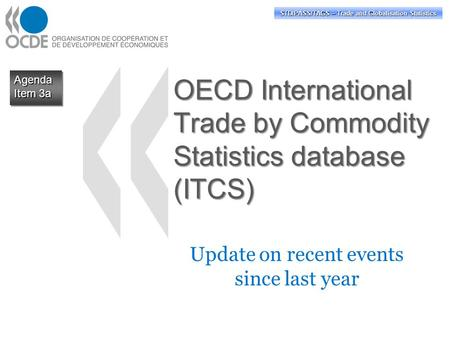 OECD International Trade by Commodity Statistics database (ITCS) Update on recent events since last year Agenda Item 3a Agenda STD/PASS/TAGS – Trade and.