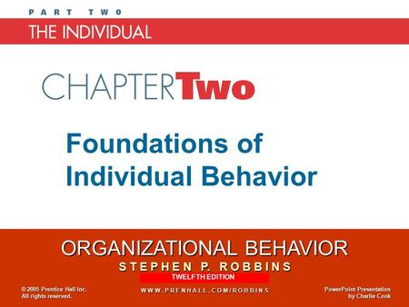 Foundations Of Individual Behavior Essay