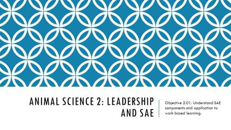 ANIMAL SCIENCE 2: LEADERSHIP AND SAE Objective 2.01: Understand SAE components and application to work based learning.