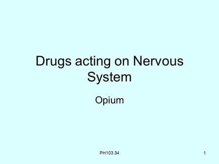 Drugs acting on Nervous System Opium PH103.341. 2 Recap In the last class we learnt about The CNS Plant drug EPHEDRA Ephedra contains Amino alkaloids.
