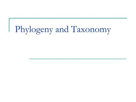 Phylogeny and Taxonomy. Phylogeny and Systematics The evolutionary history of a species or related species Reconstructing phylogeny is done using evidence.