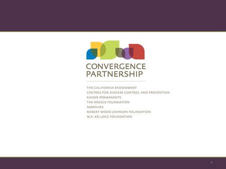 1. The Convergence Partnership: Defining and Tracking the Success of Innovation, Collaboration, and Community Change for Health Equity Jme McLean, MCP,
