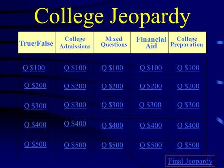 College Jeopardy True/False College Admissions Mixed Questions Financial Aid College Preparation Q $100 Q $200 Q $300 Q $400 Q $500 Q $100 Q $200 Q $300.