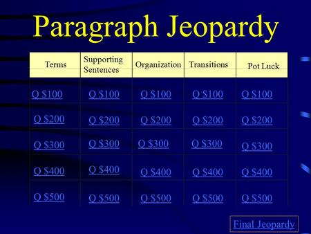 Paragraph Jeopardy Terms Supporting Sentences OrganizationTransitions Pot Luck Q $100 Q $200 Q $300 Q $400 Q $500 Q $100 Q $200 Q $300 Q $400 Q $500 Final.