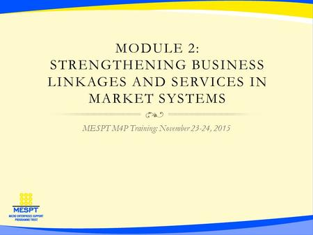 MODULE 2: STRENGTHENING BUSINESS LINKAGES AND SERVICES IN MARKET SYSTEMS MESPT M4P Training: November 23-24, 2015.