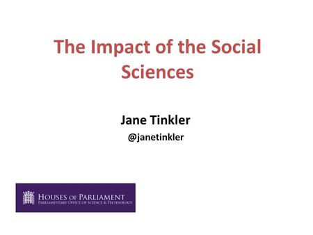 The Impact of the Social Sciences Jane