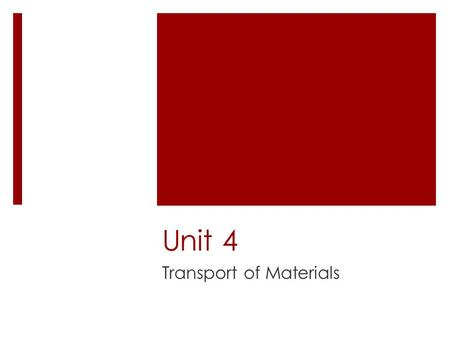 Unit 4 Transport of Materials. Key Questions 1. Why must materials enter and leave cells? 2.What materials need to enter and leave cells? 3.What role.