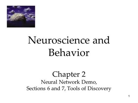 1 Neuroscience and Behavior Chapter 2 Neural Network Demo, Sections 6 and 7, Tools of Discovery.