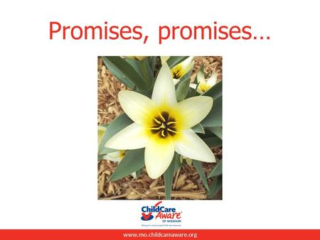 "Www.mo.childcareaware.org Promises, promises…. www.mo.childcareaware.org What is a promise? ""a promise is a statement telling someone that you will definitely."