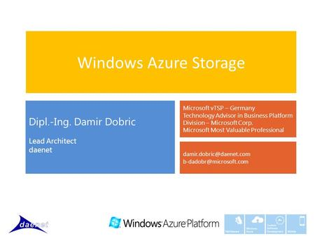 Windows Azure Custom Software Development Mobile Middleware Windows Azure Storage Dipl.-Ing. Damir Dobric Lead Architect daenet