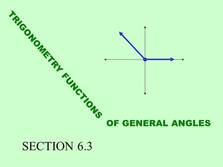 TRIGONOMETRY FUNCTIONS OF GENERAL ANGLES SECTION 6.3.