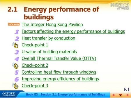 P.1 Book E3 Section 2.1 Energy performance of buildings 2.1Energy performance of buildings The Integer Hong Kong Pavilion Factors affecting the energy.