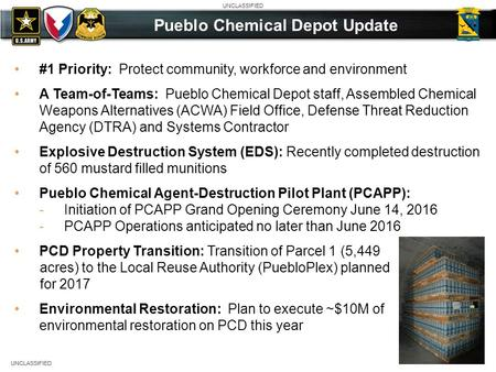 UNCLASSIFIED #1 Priority: Protect community, workforce and environment A Team-of-Teams: Pueblo Chemical Depot staff, Assembled Chemical Weapons Alternatives.