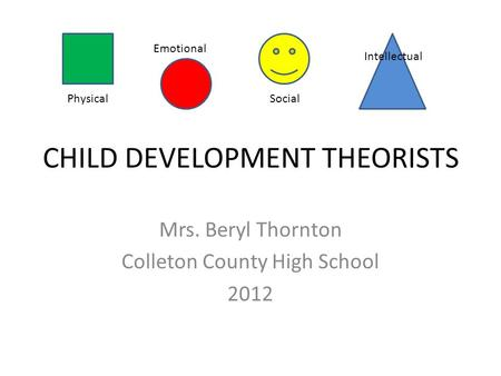 CHILD DEVELOPMENT THEORISTS Mrs. Beryl Thornton Colleton County High School 2012 Physical Emotional Social Intellectual.