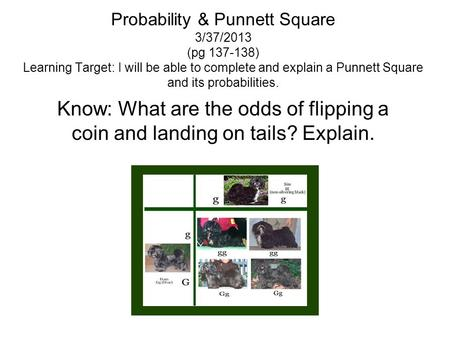 Probability & Punnett Square 3/37/2013 (pg 137-138) Learning Target: I will be able to complete and explain a Punnett Square and its probabilities. Know: