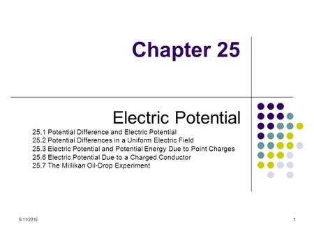Chapter 25 Electric Potential 25.1 Potential Difference and Electric Potential 25.2 Potential Differences in a Uniform Electric Field 25.3 Electric Potential.
