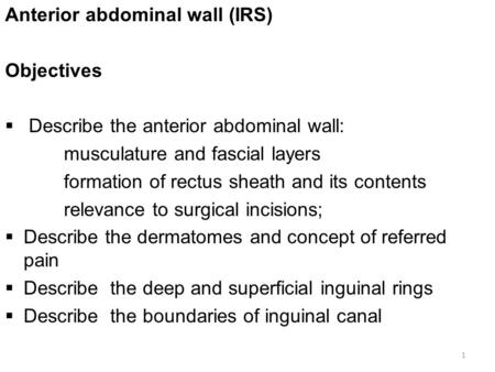 Anterior abdominal wall (IRS) Objectives  Describe the anterior abdominal wall: musculature and fascial layers formation of rectus sheath and its contents.