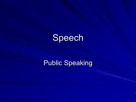 Speech Public Speaking. Selecting a speech pattern Chronological: In time order Spatial: Dealing with locations Topical: Broken down into natural parts.
