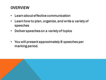OVERVIEW Learn about effective communication Learn how to plan, organize, and write a variety of speeches Deliver speeches on a variety of topics You will.