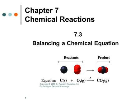 1 Chapter 7 Chemical Reactions 7.3 Balancing a Chemical Equation Copyright © 2008 by Pearson Education, Inc. Publishing as Benjamin Cummings.