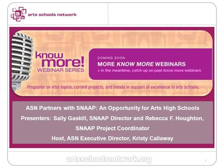 1 ASN Partners with SNAAP: An Opportunity for Arts High Schools Presenters: Sally Gaskill, SNAAP Director and Rebecca F. Houghton, SNAAP Project Coordinator.