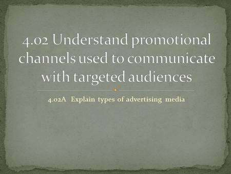 4.02A Explain types of advertising media. The channels of communication-information travels through them to consumers Types of advertising media 1. Publications.