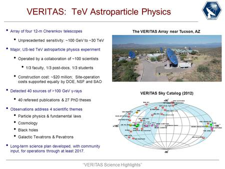 """VERITAS Science Highlights"" VERITAS: TeV Astroparticle Physics Array of four 12-m Cherenkov telescopes Unprecedented sensitivity: ~100 GeV to ~30 TeV."