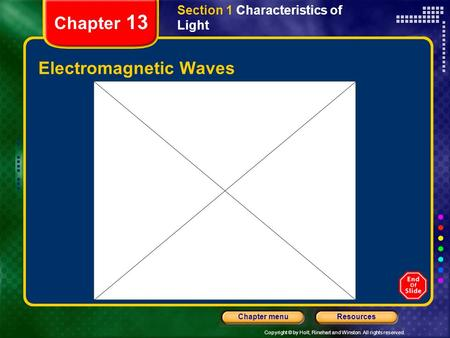 Copyright © by Holt, Rinehart and Winston. All rights reserved. ResourcesChapter menu Chapter 13 Electromagnetic Waves Section 1 Characteristics of Light.