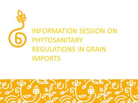 INFORMATION SESSION ON PHYTOSANITARY REGULATIONS IN GRAIN IMPORTS.