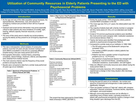 Utilization of Community Resources in Elderly Patients Presenting to the ED with Psychosocial Problems Rachelle Halasa MS, Chad Sutliffe MHA, Andrew Brown.