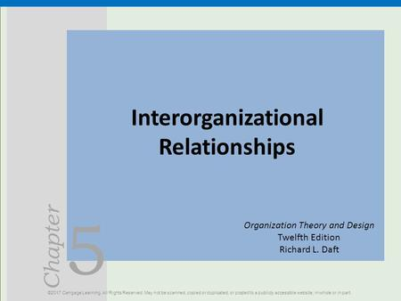 5 Chapter Interorganizational Relationships ©2017 Cengage Learning. All Rights Reserved. May not be scanned, copied or duplicated, or posted to a publicly.