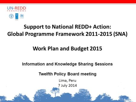 Support to National REDD+ Action: Global Programme Framework 2011-2015 (SNA) Work Plan and Budget 2015 Information and Knowledge Sharing Sessions Twelfth.