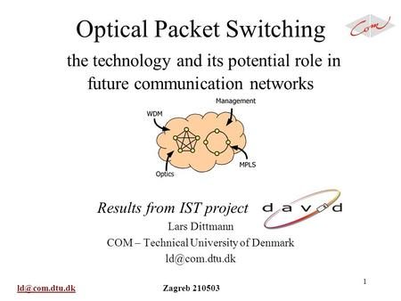 Zagreb 210503 1 Optical Packet Switching the technology and its potential role in future communication networks Results from.