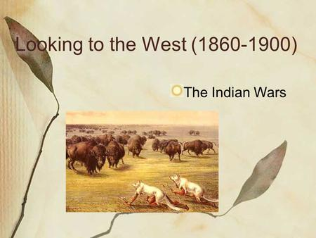 Looking to the West (1860-1900) The Indian Wars. The Life of the Plains Indians Eastern settlers changed the lives of N. A. on the Great Plains Indians.