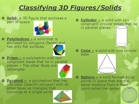 Classifying 3D Figures/Solids  Solid- a 3D figure that encloses a part of space  Polyhedron – a solid that is enclosed by polygons (faces) and has only.