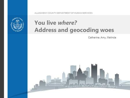 ALLEGHENY COUNTY DEPARTMENT OF HUMAN SERVICES You live where? Address and geocoding woes Catherine, Amy, Melinda.