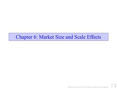 © Baldwin&Wyplosz The Economics of European Integration 1 Chapter 6: Market Size and Scale Effects.