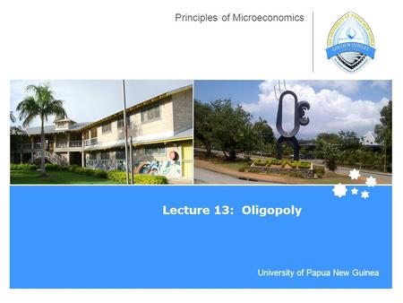 University of Papua New Guinea Principles of Microeconomics Lecture 13: Oligopoly.