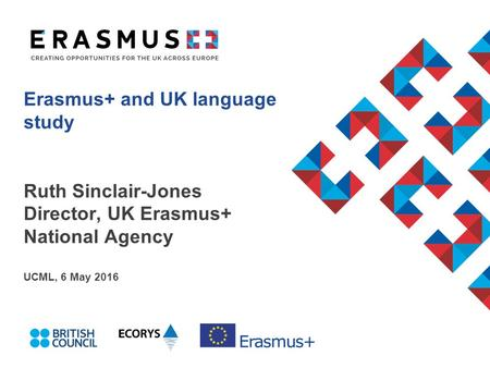 Erasmus+ and UK language study Ruth Sinclair-Jones Director, UK Erasmus+ National Agency UCML, 6 May 2016.